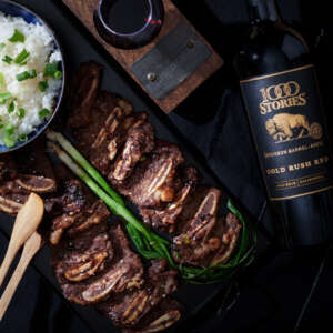 Galbi Korean Short Ribs and 1000 Stories Gold Rush Red